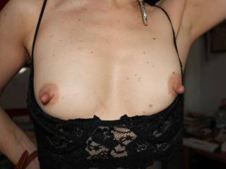 my favourite...nice little boobies and rock hard nipples...turns me on so much,would love to get to know you better X