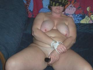 Hubby tied me up and blindfolded me. Gave me a dildo to use while I told him of all the cocks that I have let in my pussy. Makes me cum so much when I tell him how I was a whore for my boyfriend when I cheated on him.