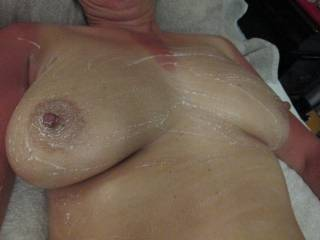 whipped cream rubbed into my tits