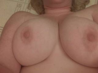 I'd love to watch those nice big tits bouncing as I'm pounding your pussy HARD!