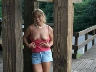 Yes we do.  Very nice tits and the outdoors factor just makes it even hotter...