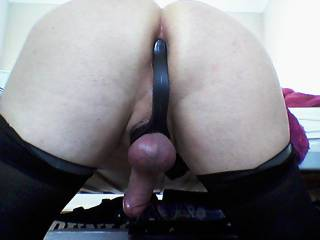 Love my ass full when she makes me wear her stockings