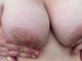 Massaging his load on my tits