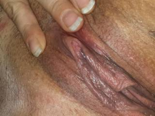 I would love to lick that tasty looking pussy Until  you're almost ready to cum and then slide my cock deep and hard if you like