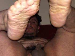 Play with my tight brown hole and squeeze my little soft cock fuck me as u sniff my dirty fat soles and lick my toes as u fuck that hole with a strap on and make me suck tasting my own asshole as u rim my fucked hole and then let me do the same to you!