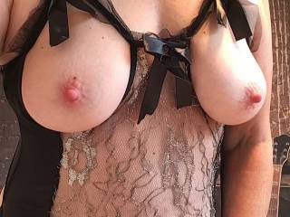 Wife's beautiful tits new wardrobe more to come so, back to wife's beautiful tits who would like to play with them and what game would you play? Must be creamy ...