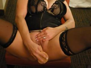 Mrs.A pushing her toy deep up in her hungry pussy