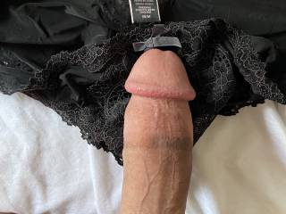 Cock on black satin VS panties