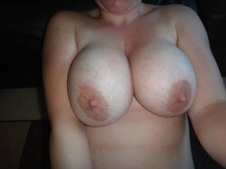 Beautiful tits. I would love to cum all over them. After I fucked them of course... But they truly are a beautiful sight.