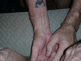 I held her legs apart while her husband finger fucked her.