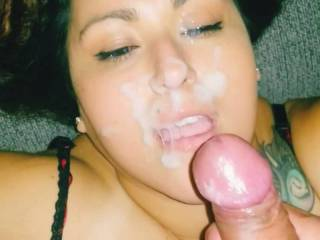 She loves me cumming on her face and watching me cum ...u can see her trying to open her eyes and watch my cum shoot out