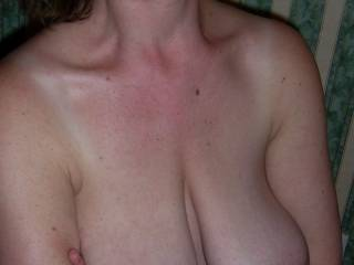 THOSE TITS ARE SO GREAT, I WOULK LICK AND SUCK THEM UNTIL YOU ARE SO HOT, YOU BEG ME FOR MY COCK.....
