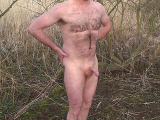 hairy and uncut, great to be outside naked