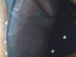 I like how his cock looks in these panties.. all big fat and hard in the transparent mesh thongs with the glittering diamonds making me want to feel him..