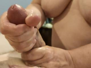 Squeezing all of that stress out of Hubby\'s cock. Interested in my massage skills? Check out my video.