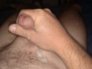 Stroking my cock and squirting my load of hot cum.