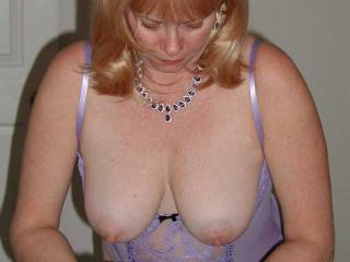 wife showing off her large tits and nipples