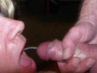 Wish that were me....mouth open, ready to take it all. x