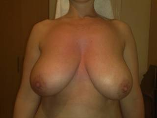 My gf\'s great tits...fell free to cum on them and re post !!