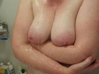 come bury your face in my cleavage and something big and fat in my pussy!