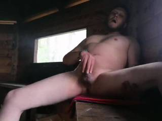 Getting horny on the cottage camp fire after naked swimming