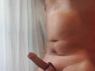 Kinky tied balls and cock. Maybe you\'d like to lick and suck on them?