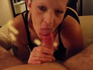After I moaned 'cumming', she looked up at me as the first big shot of sperm shot into her mouth. She never took her mouth off the cock as I got to finish cumming in her mouth