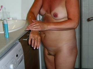 She is my 54 y/o wife.Do you like her small tits?