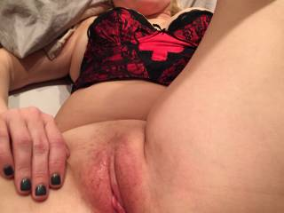 After a good ride, I just had to have a little more stimulation.  I love what big hands can do.  Can you see my swollen pussy.  She had just been fucked for an hour and a half straight, no breaks.