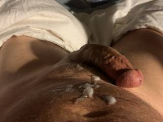 I jerked my hard cock off and got cum all over myself. I need a volunteer to lick it all up for me!
