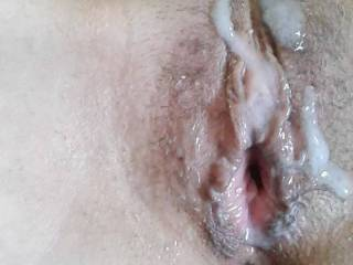 I decided to push my cum back into her pussy.  Great weekend of sex so far. Told her she could let someone else fuck her and add to my cum!
