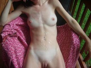 Nice body, looking good cum covered. Like to see her out and about like that. Sweet pussy and such hot sweet tits
