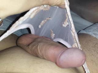 Mmmmm, big, hard, shaved and so desirable in those sexy panties...  I want to ride it with my pussy and feel your smooth balls slapping against my butt cheeks...