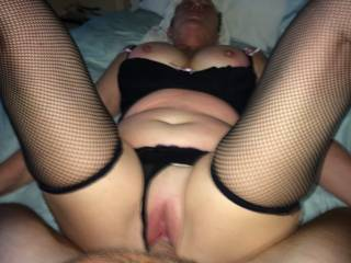 what a view. lingerie,tits and a lovely open pussy being fucked