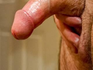 Close up of semi hard dick