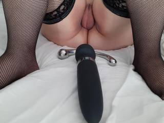 Wife getting ready  to  have   fun  for  me