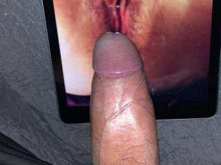 A big cocked stranger tributing a pic of my Asian wife\'s cunt
