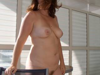 Love her sexy tits and her neatly trimmed pussy. Getting hard thinking about how wet and warm her pussy is.