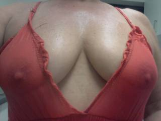 Do you like my wet tits and hard nipples? Maybe you should suck them...