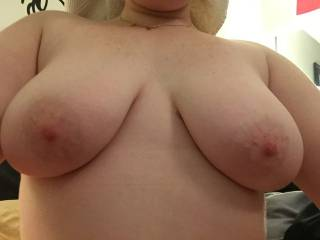 My little submissive showing off her big tits after getting out of the shower.