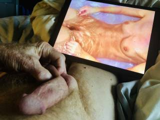 I love seeing this lovely woman in her bath. She asked if I was going to masturbate and cum. Of course I did.
