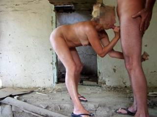 an abandoned house - I love to suck this big hard dick