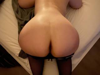 Perfectly heart shaped ass waiting for cock on the edge of the bed