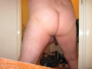 One of my lady friends took this pic of my ass cheeks and crack, then she rimmed me