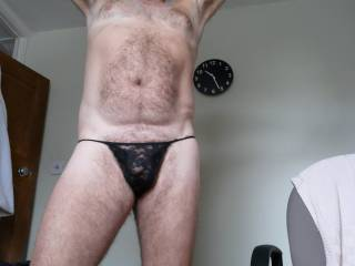 just a bit of fun with the wifes thong - I\'M STR8 You dont have to be GAY to appeciate wearing a womans panties