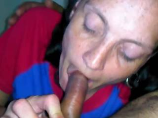 giving husband a blowjob and having a good time