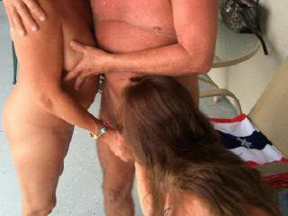I watched another couple fuck, and after they finished his wife fed me his cock so I could suck off the pussy juice and cum!  I loved it, and want to do that again!  Yum!