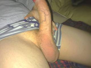 My curved veiny uncut dick..