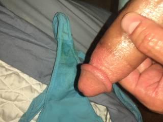 Panties, cock, stroking