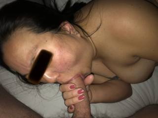 He loves when she sucks his big cock